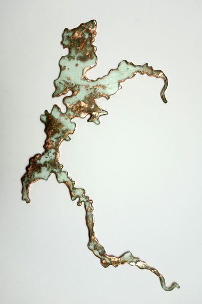 Marion Kieft - Great Renaissance 2, 2019 - epoxy resin, leaf copper - 1 x 38 x 48 cm